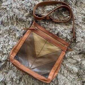 Gorgeous leather chevron crossbody bag